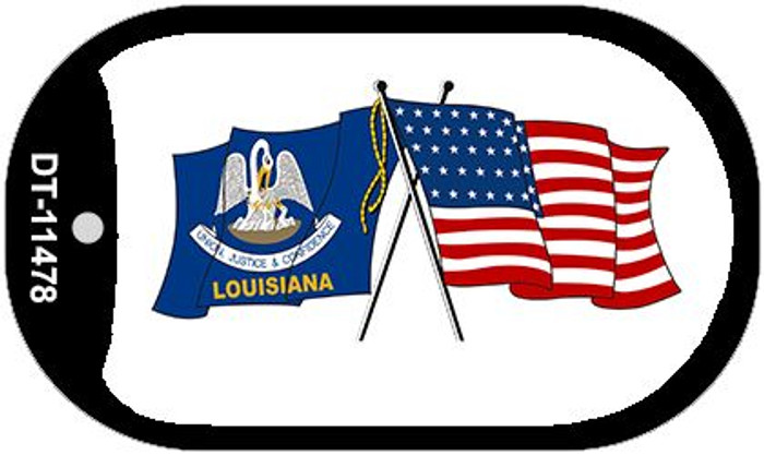 Louisiana / USA Crossed Flags Wholesale Novelty Metal Dog Tag Necklace DT-11478