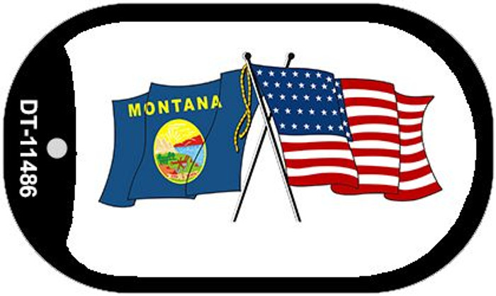 Montana / USA Crossed Flags Wholesale Novelty Metal Dog Tag Necklace DT-11486