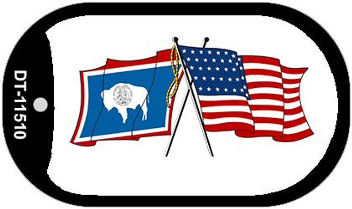Wyoming / USA Crossed Flags Wholesale Novelty Metal Dog Tag Necklace DT-11510