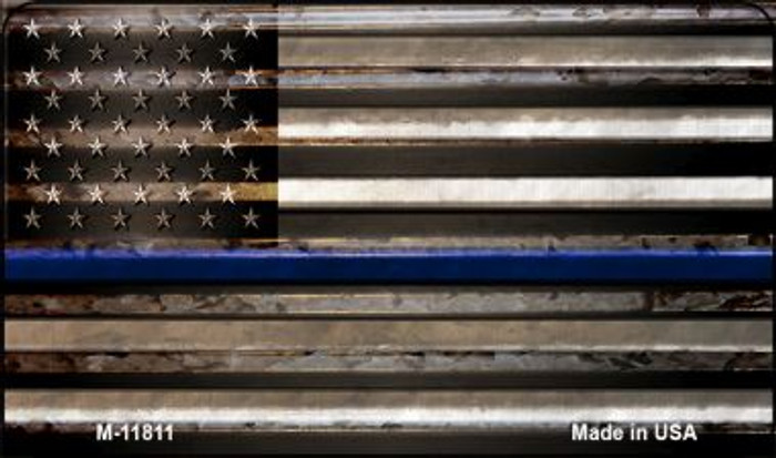 Police Thin Blue Line Corrugated Wholesale Novelty Metal Magnet M-11811