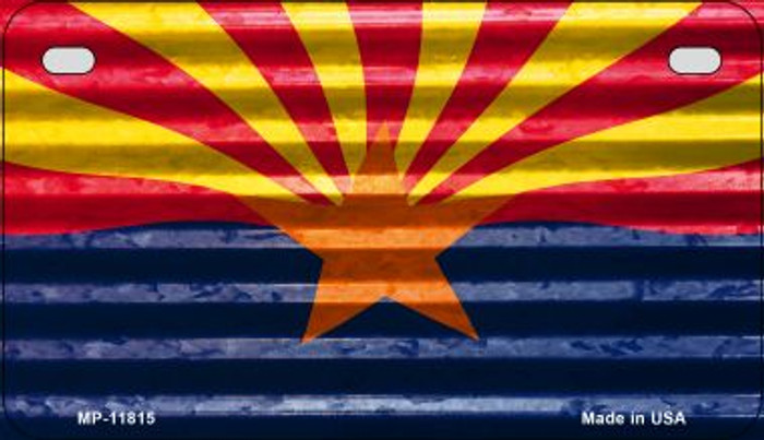 Arizona Flag Corrugated Wholesale Novelty Metal Motorcycle Plate MP-11815