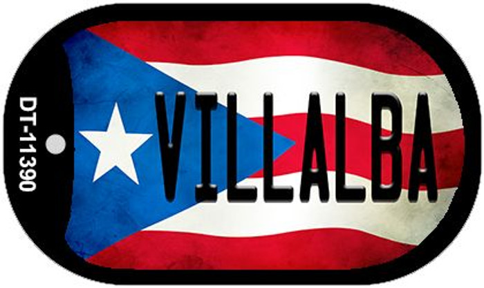Villalba Puerto Rico State Flag Wholesale Novelty Metal Dog Tag Necklace DT-11390