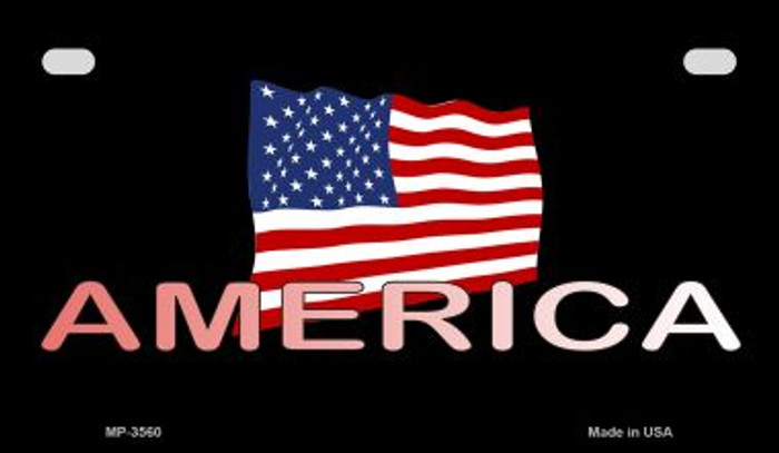 America with Flag Wholesale Novelty Metal Motorcycle Plate MP-3560
