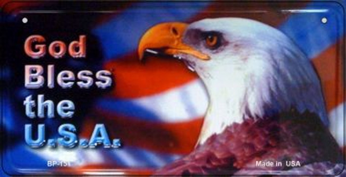 God Bless The USA Wholesale Novelty Metal Bicycle Plate BP-151