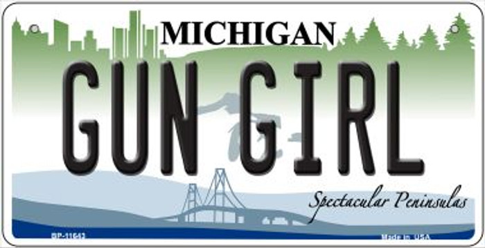 Gun Girl Michigan Wholesale Novelty Metal Bicycle Plate BP-11643