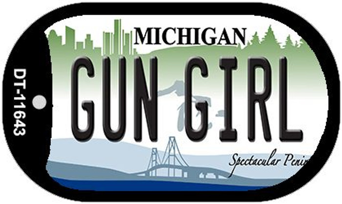 Gun Girl Michigan Wholesale Novelty Metal Dog Tag Necklace DT-11643