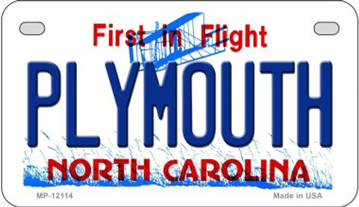 Plymouth North Carolina State Wholesale Novelty Metal Motorcycle Plate MP-12114