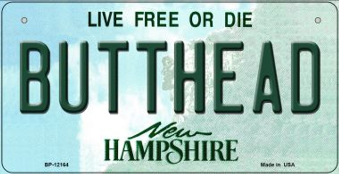 Butthead New Hampshire Wholesale Novelty Metal Bicycle Plate BP-12164