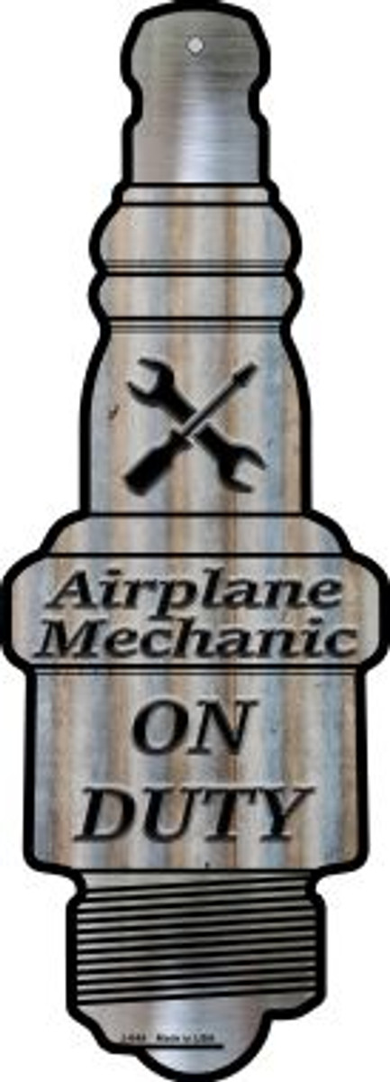 Airplane Mechanic On Duty Wholesale Novelty Metal Spark Plug Sign J-044