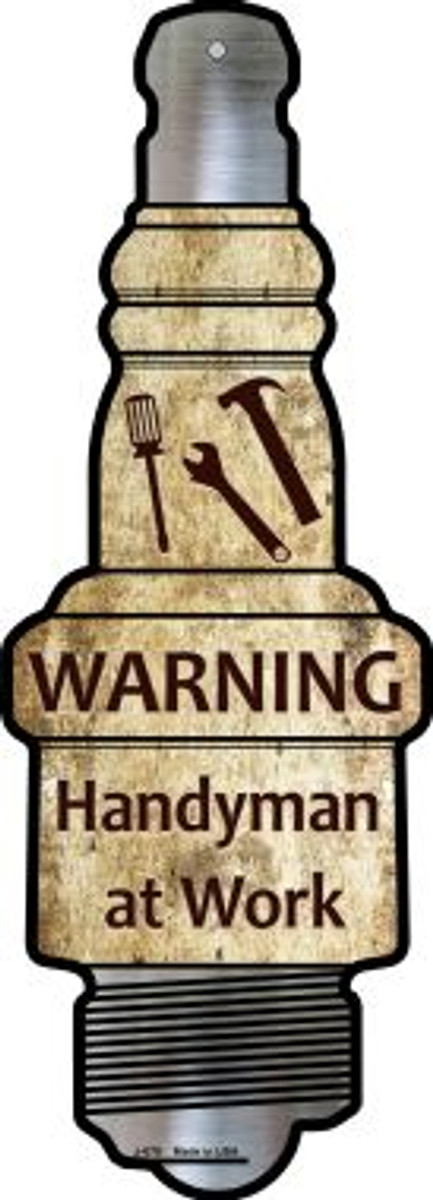 Handyman At Work Wholesale Novelty Metal Spark Plug Sign J-075