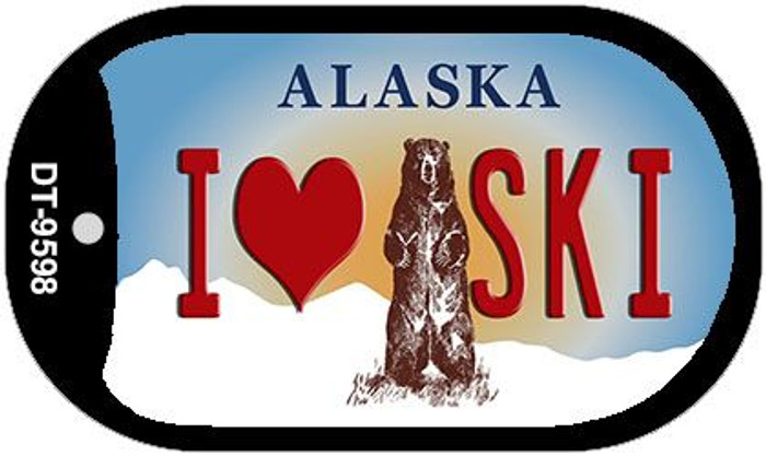I Love to Ski Alaska Wholesale Novelty Metal Dog Tag Necklace DT-9598
