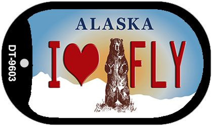 I Love to Fly Alaska Wholesale Novelty Metal Dog Tag Necklace DT-9603