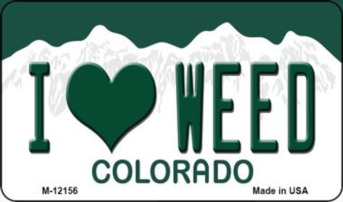 I Love Weed Colorado Wholesale Novelty Metal Magnet M-12156