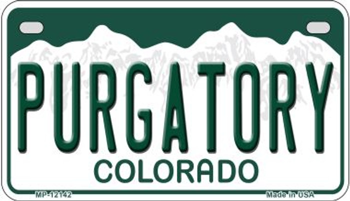 Purgatory Colorado Wholesale Novelty Metal Motorcycle Plate MP-12142