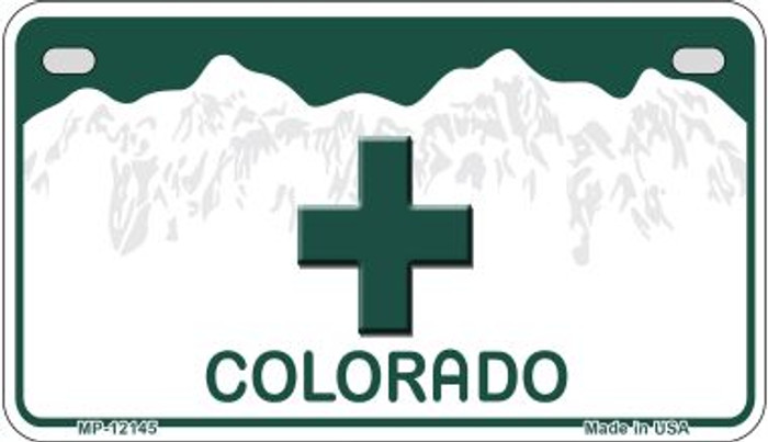 Marajuana Cross Colorado Wholesale Novelty Metal Motorcycle Plate MP-12145