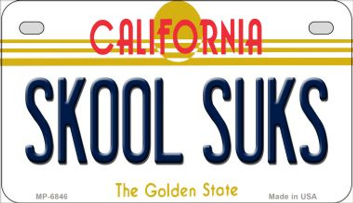 Skool Suks California Wholesale Novelty Metal Motorcycle Plate MP-6846