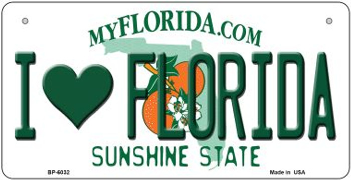 I Love Florida Wholesale Novelty Metal Bicycle Plate BP-6032