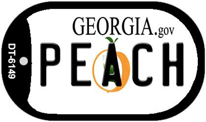 Peach Georgia Wholesale Novelty Metal Dog Tag Necklace DT-6149
