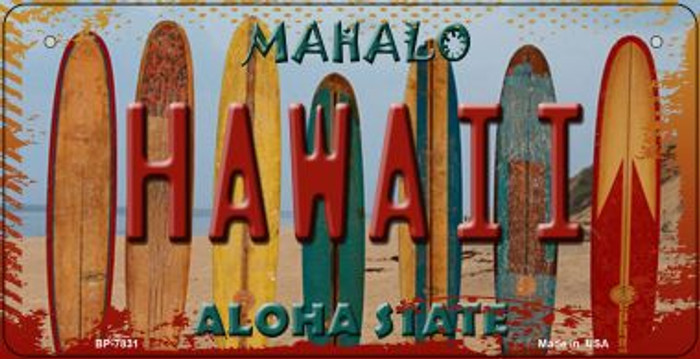 Hawaii Surfboards Wholesale Novelty Metal Bicycle Plate BP-7831