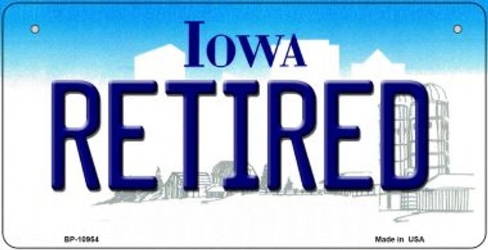 Retired Iowa Wholesale Novelty Metal Bicycle Plate BP-10954