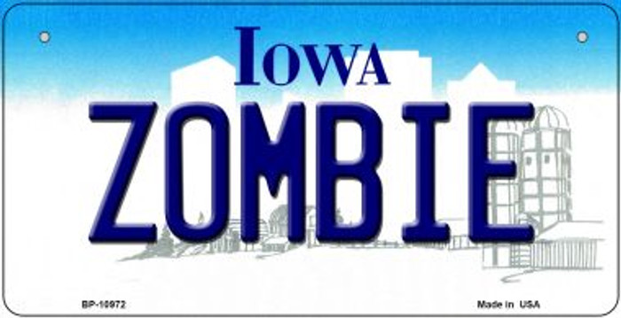 Zombie Iowa Wholesale Novelty Metal Bicycle Plate BP-10972