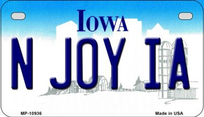 N Joy IA Iowa Wholesale Novelty Metal Motorcycle Plate MP-10936