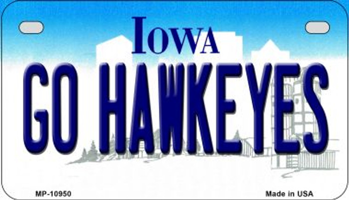 Go Hawkeyes Iowa Wholesale Novelty Metal Motorcycle Plate MP-10950