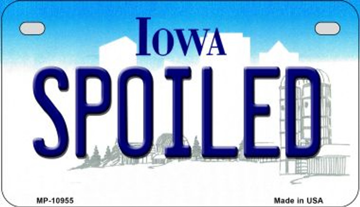 Spoiled Iowa Wholesale Novelty Metal Motorcycle Plate MP-10955