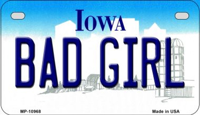 Bad Girl Iowa Wholesale Novelty Metal Motorcycle Plate MP-10968