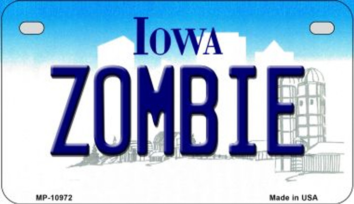 Zombie Iowa Wholesale Novelty Metal Motorcycle Plate MP-10972