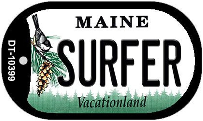 Surfer Maine Wholesale Novelty Metal Dog Tag Necklace DT-10399