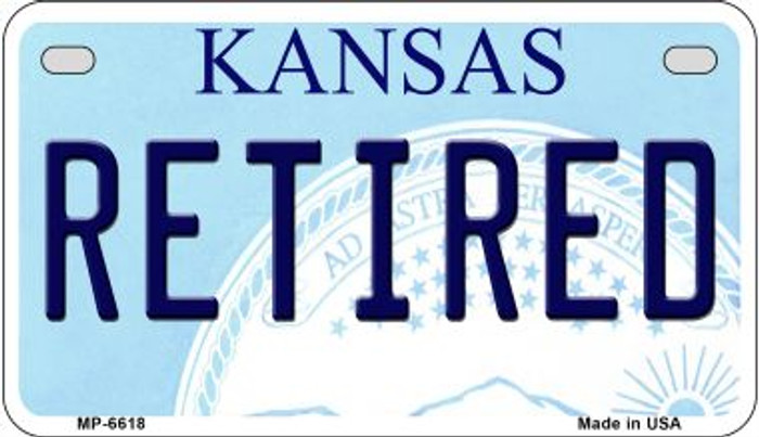 Retired Kansas Wholesale Novelty Metal Motorcycle Plate MP-6618
