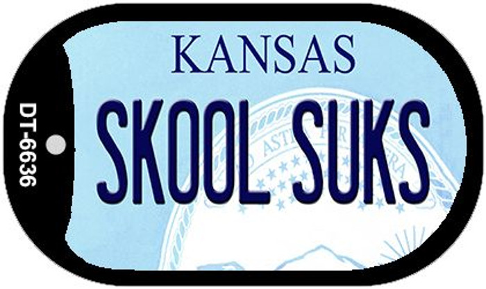 Skool Suks Kansas Wholesale Novelty Metal Dog Tag Necklace DT-6636