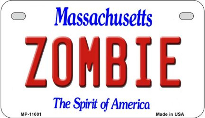 Zombie Massachusetts Wholesale Novelty Metal Motorcycle Plate MP-11001