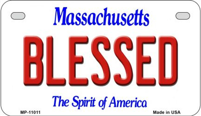 Blessed Massachusetts Wholesale Novelty Metal Motorcycle Plate MP-11011