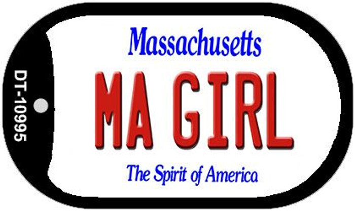 MA Girl Massachusetts Wholesale Novelty Metal Dog Tag Necklace DT-10995