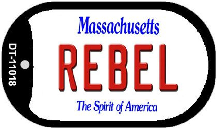 Rebel Massachusetts Wholesale Novelty Metal Dog Tag Necklace DT-11018