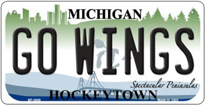 Go Wings Michigan Wholesale Novelty Metal Bicycle Plate BP-2809