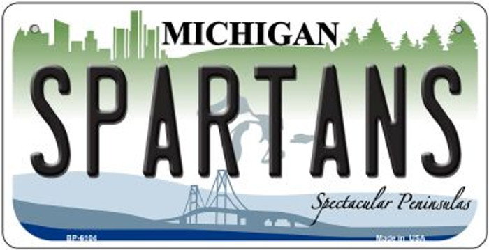 Spartans Michigan Wholesale Novelty Metal Bicycle Plate BP-6104