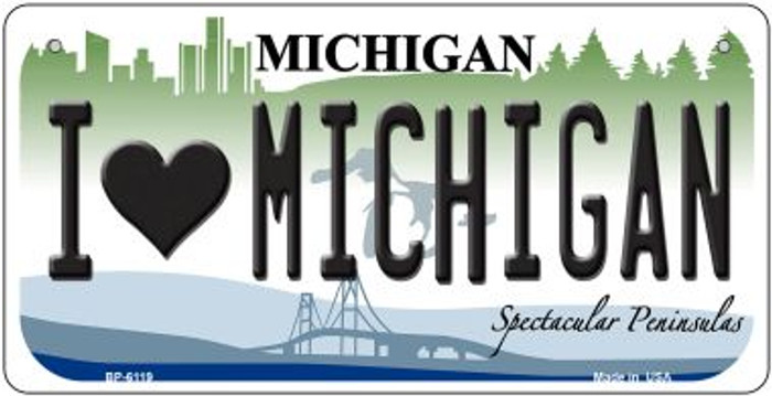 I Love Michigan Wholesale Novelty Metal Bicycle Plate BP-6119