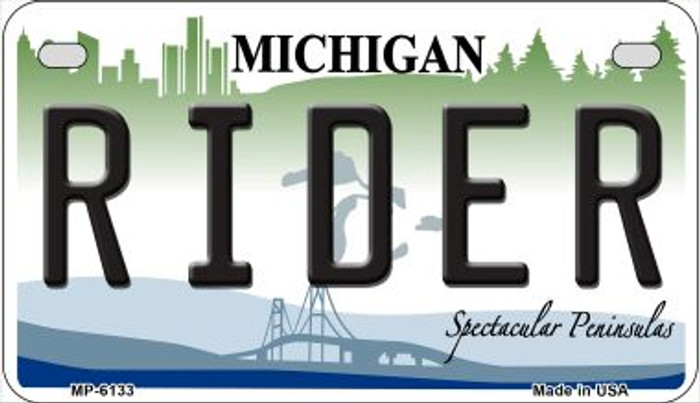 Rider Michigan Wholesale Novelty Metal Motorcycle Plate MP-6133
