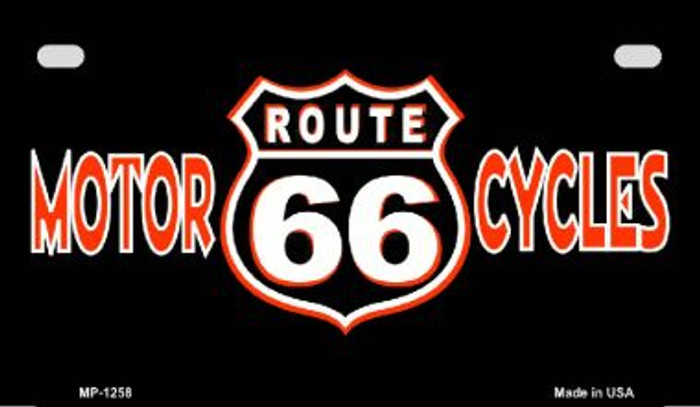 Route 66 Motorcycles Wholesale Metal Novelty Motorcycle License Plate