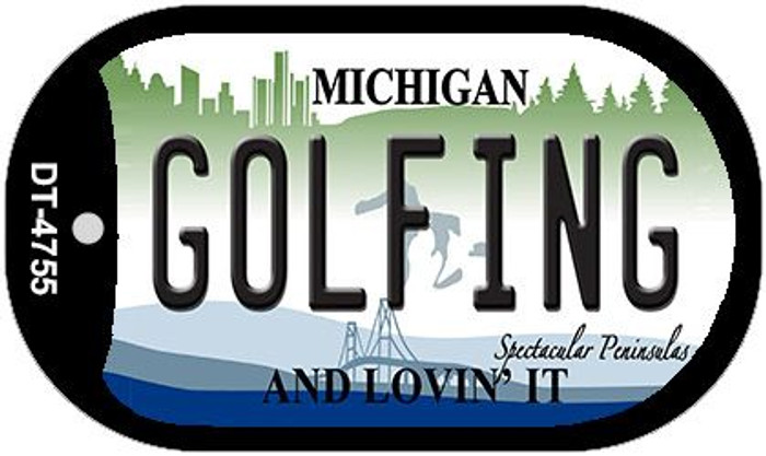Golfing Michigan Wholesale Novelty Metal Dog Tag Necklace DT-4755