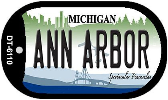 Ann Arbor Michigan Wholesale Novelty Metal Dog Tag Necklace DT-6110