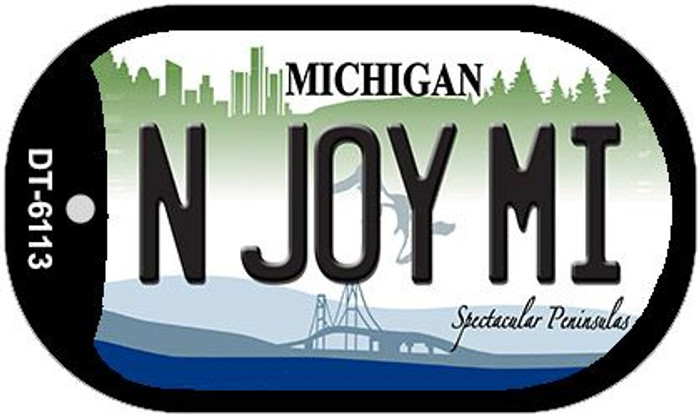 N Joy MI Michigan Wholesale Novelty Metal Dog Tag Necklace DT-6113