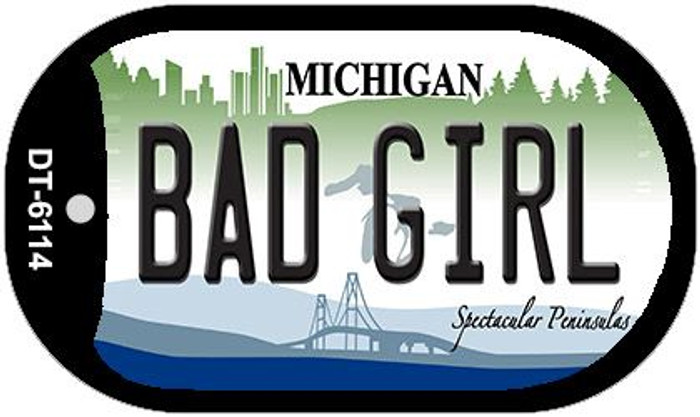 Bad Girl Michigan Wholesale Novelty Metal Dog Tag Necklace DT-6114