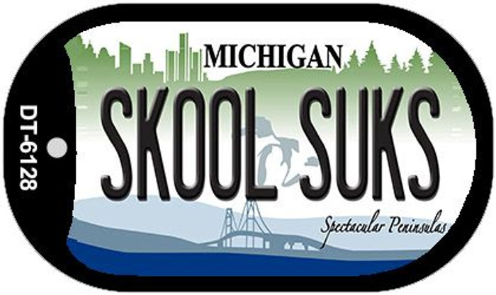 Skool Suks Michigan Wholesale Novelty Metal Dog Tag Necklace DT-6128