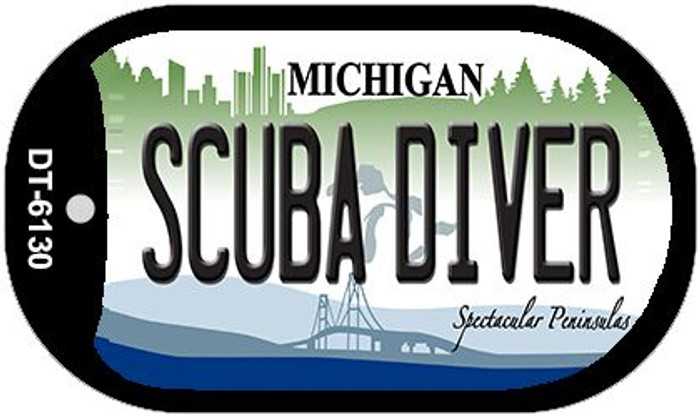 Scuba Diver Michigan Wholesale Novelty Metal Dog Tag Necklace DT-6130
