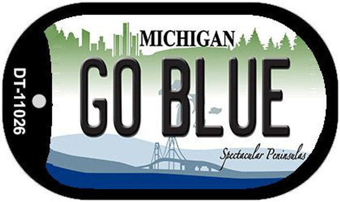 Go Blue Michigan Wholesale Novelty Metal Dog Tag Necklace DT-11026
