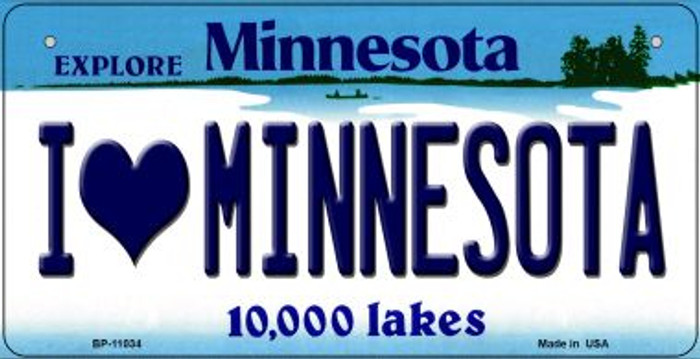 I Love Minnesota Wholesale Novelty Metal Bicycle Plate BP-11034